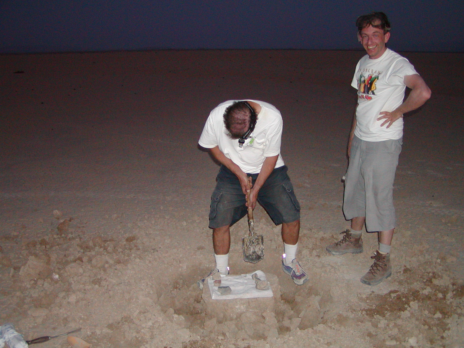 Heinz Huber (then at UCLA) and Peter excavating the meteorite.